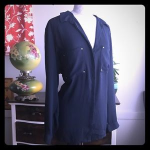 H&M Navy button up blouse size 20